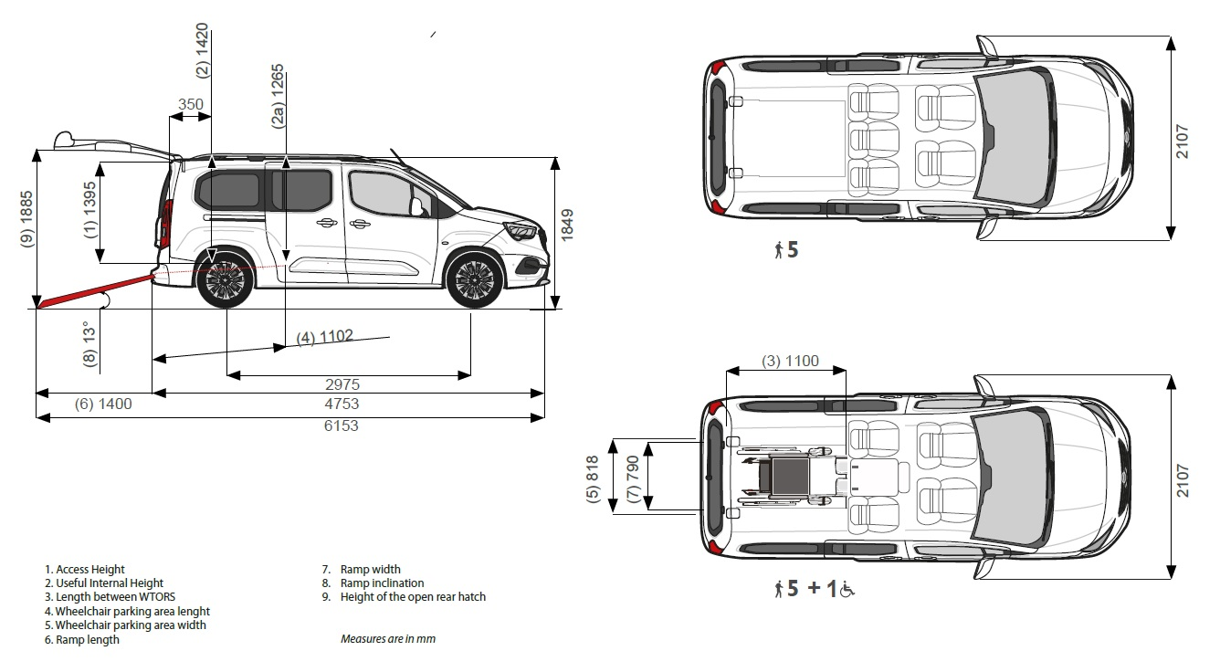 Accessible wheelchair opel combo specs
