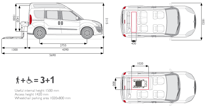 Wheelchair Accessible Fiat Doblo H2 Seats Layout