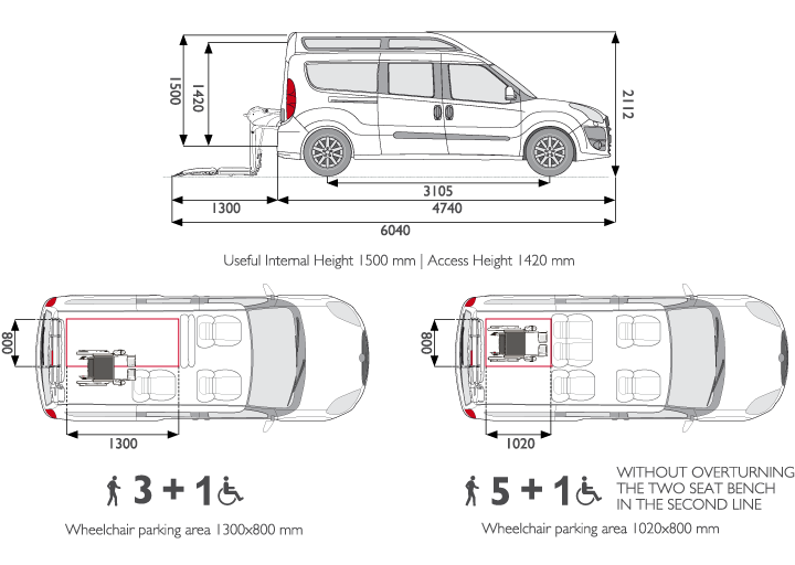 Wheelchair Accessible Fiat Doblo XL Seats Layout