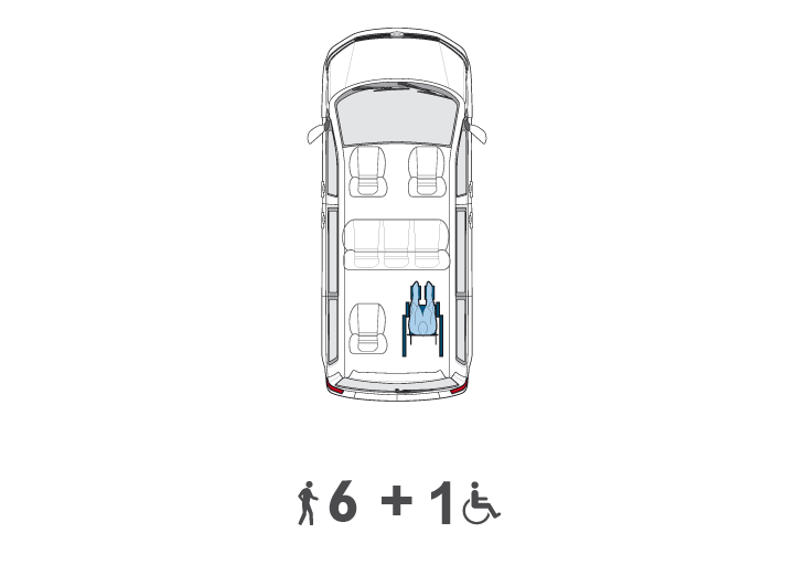 Wheelchair Accessible Volkswagen Multivan seats layout 2